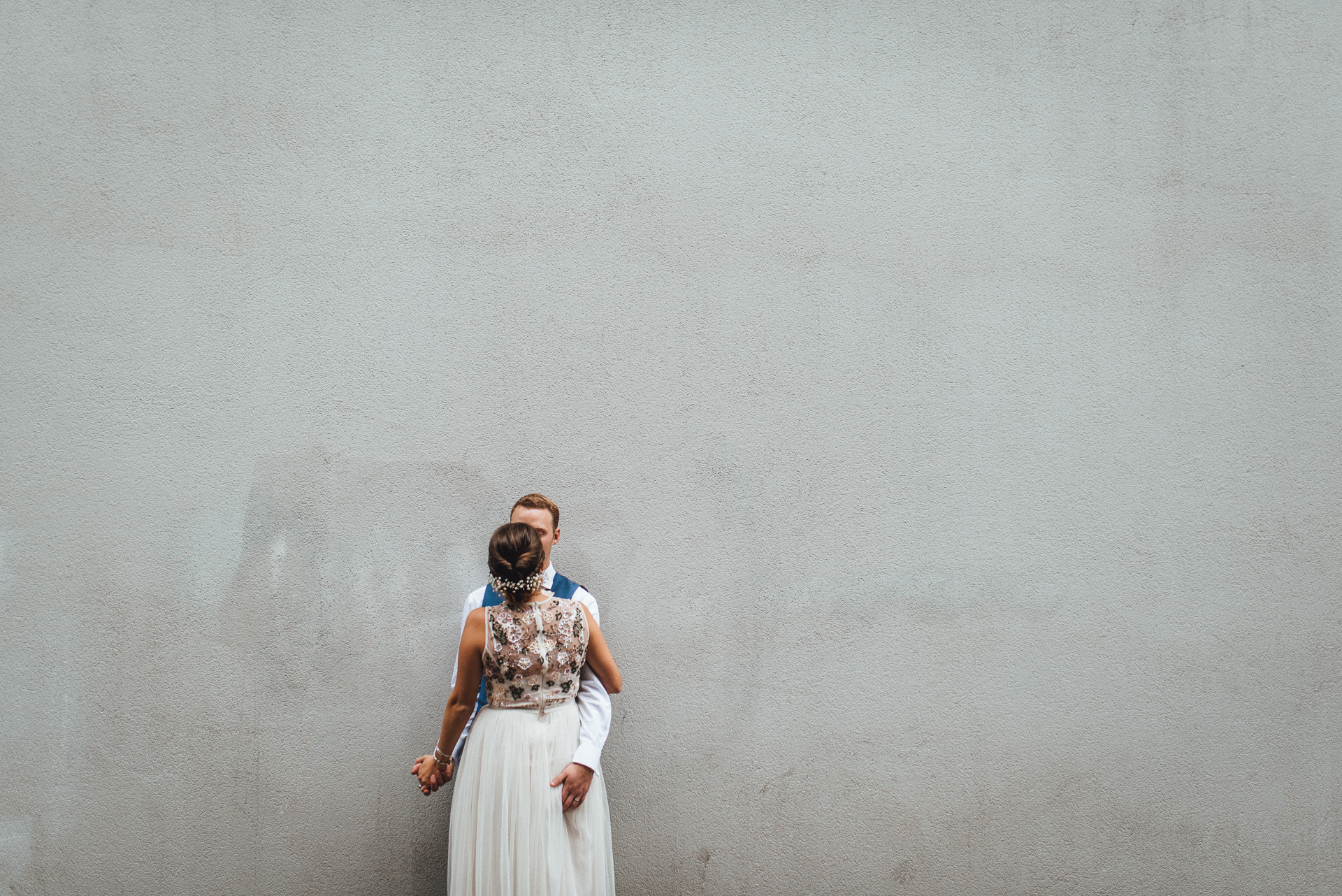 Bride and groom. Fun, creative urban wedding photography