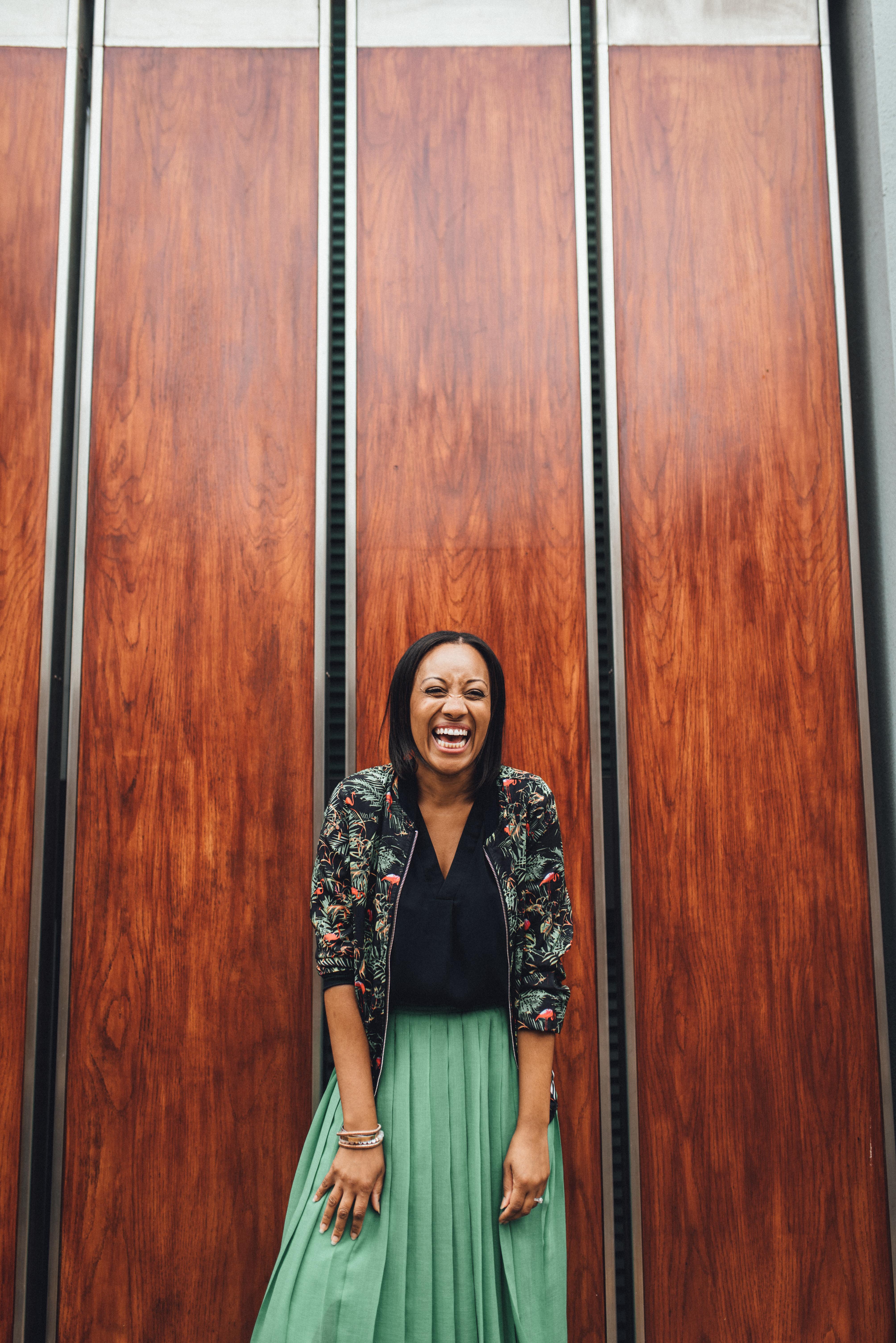 Laughing, smiling woman. Fun london branding shoot