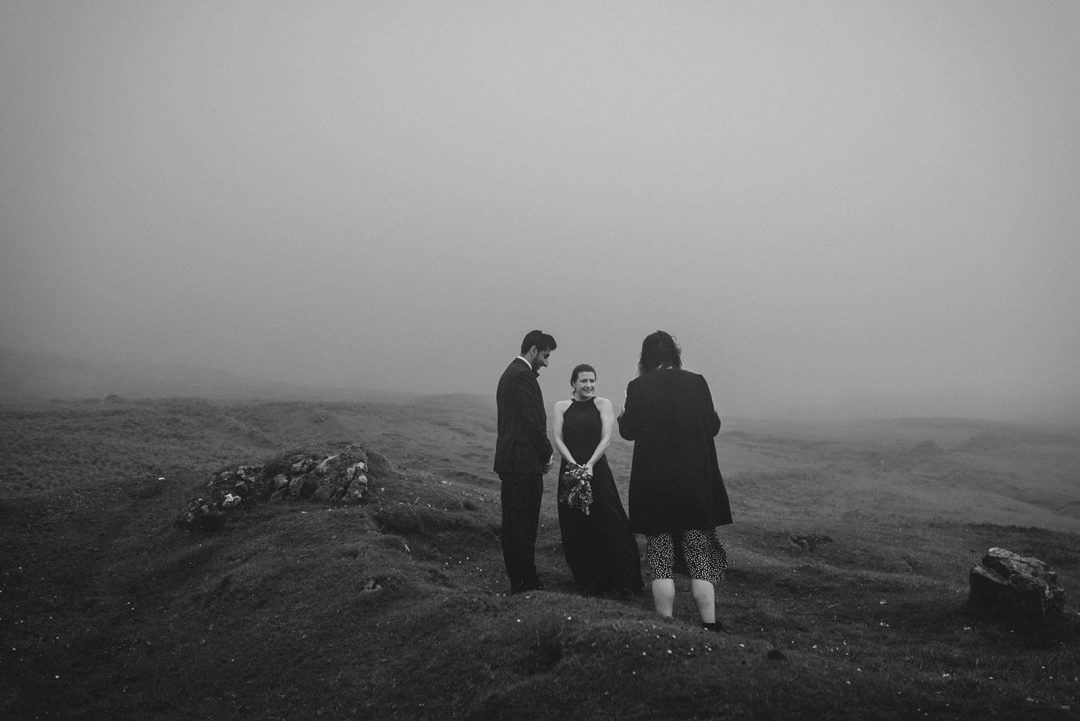 Humanist ceremony in the fog in the Isle of Skye